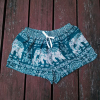 Green Blue Shorts Elephant Style Print Design Casual Beach Hippie Tribal pants Gypsy Thai Batik shorts Women Tribal Boho Tank pant Clothing