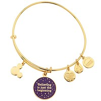 Disney Alex and Ani Parks Tinker Bell Believing Charm Bangle Gold New With Tags