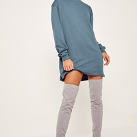 Missguided - Blue Oversized Long Sleeve Sweater Dress