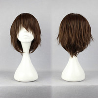2014 New Arrival Heat Resistant Synthetic short brown cosplay anime wig,Colorful Candy Colored synthetic Hair Extension Hair piece 1pcs WIG-260A