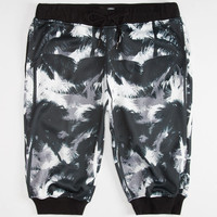 Elwood Abstract Palms Mens Jogger Shorts Black/White  In Sizes
