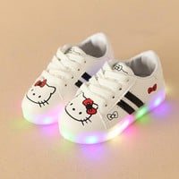2018 European high quality LED lighting children casual shoes cool hot sales cartoon glowing sneakers baby cute girls boys shoes