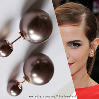 Coffee Brown Mise en Dior style double pearl earrings Faux Pearl tribal earrings trendy fashion studs double facing statement style jewelry