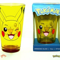Pokemon OFFICIAL Pikachu Yellow with Red Base Pint Glass, 16 OZ, Novelty GIFT to Pokemon and Pikachu fans