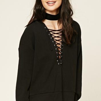 Contrast Lace-Up Hoodie
