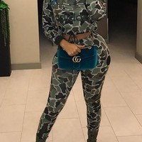 Light Green Camouflage Crop Top And High Waisted Long Pants