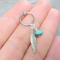 Turquoise Cartilage Hoop Silver Feather Earring Boho Tragus Helix Piercing