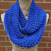 New Royal Blue Handmade Crochet Infinity Scarf Cowl Neck Warmer