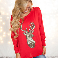 Glittered Reindeer French Terry Top Red