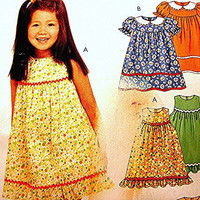 Toddler Girls Dress & Panties Pattern McCall's size 1 2 3 UNCUT Easy to Sew