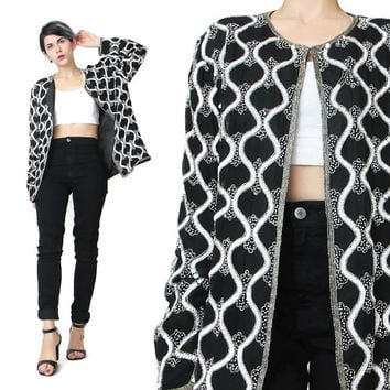 Vintage Sequin Jacket Black and White Beaded Jacket Papell Evening Jacket Cropped Silk Sequin Trophy Fancy Glam Party Sequin Cardigan (L)