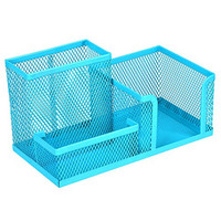 Homecube® Space Saving Mesh office supplies desk organizers/pen holder/cell phone holder/cosmetic holder 3 Sorter Sections Blue