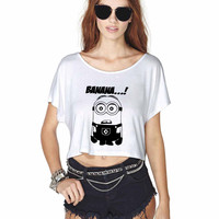 Minion Banana Crop Shirt , Custom Crop Shirt , Woman Crop Shirt