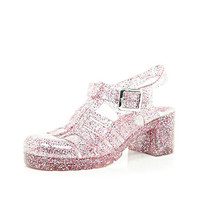 River Island Womens Pink glitter block heel jelly shoes