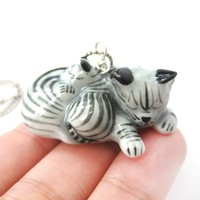 Mother and Baby Kitty Cat Porcelain Ceramic Animal Pendant Necklace | Handmade