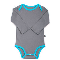 Organic Grey & Turquoise Long Sleeve Onepiece