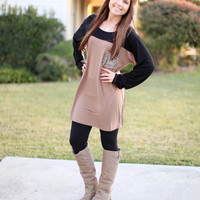 Promise Me Tunic- Mocha, Black and Sequin
