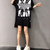 Women Casual Fashion Letter Pattern Print Backless Short Sleeve Hooded Sweater Dress