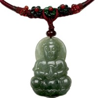 Elegant Mercy Buddha Carved Jade Amulet Necklace- Fortune Jade Buddha