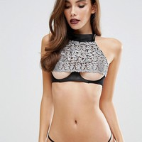 Fifty Shades Darker by Coco de Mer Masquerade Halterneck Bra at asos.com