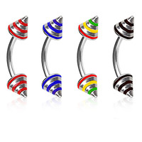316L Surgical Steel Eyebrow Ring with 3 Stripe Spikes