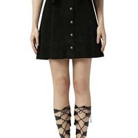 Black Suede Button Down A-line Skirt