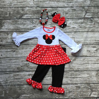 baby girls fall clothing gilrs party red minnie outfits children boutique clothes polka dot ruffle with matching accessories