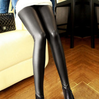 Punk Black Faux Leather Leggings