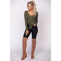 Love Ties Ribbed Crop Top (Olive)