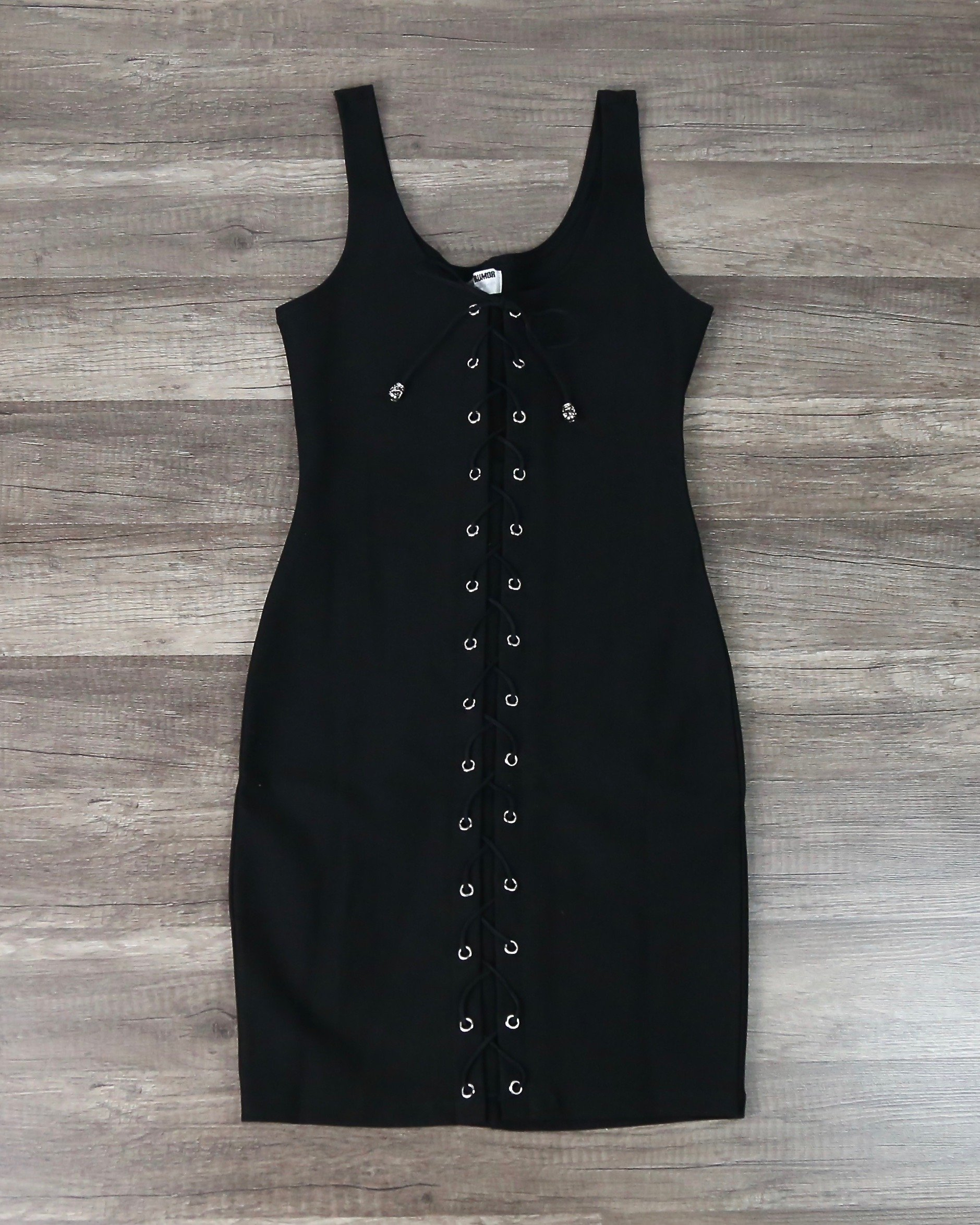 Image of Turning Heads Lace Up Bodycon Dress in Black