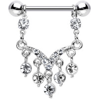 Clear Gem Victorian Vision Dangle Nipple Ring | Body Candy Body Jewelry