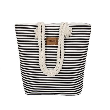 Women Stripes Canvas Beach Bag Large Capacity Zipper Shoulder Bag Ladies Polyester Totes Girl's Casual Shopping Handbag