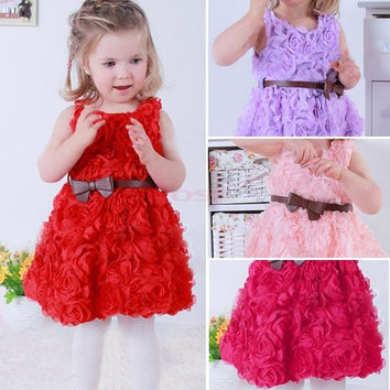 Baby Girls Toddler Kids Lace Rose Flower Bowknot Party Dress Outfit Clothes 20072|26601 Children's Clothing = 1745538692