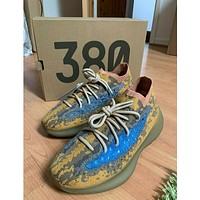"""Yeezy Boost 380 V1 """"Citrin Alien"""" all-match lightweight midsole casual sports socks jogging shoes Yellow"""