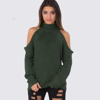 Off Shoulder Long Sleeve Pullover Sweater