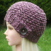 Hand Knit Hat Women's hat- Rustic Mega Chunky with wool- beanie hat- purple tweed with dark brown wooden button