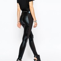 Religion High Rise Skinny High Shine Biker Trousers With Zip Detail