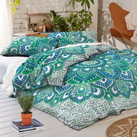 NEW Boho Green Lotus Flower Tapestry Full Duvet Cover SET