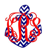 "Chevron Anchor and Vines Monogram Decal 5"" Sticker"