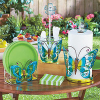 3 PC Colorful Metal Butterfly Picnic Items Flatware Plate Towel Holder Party New