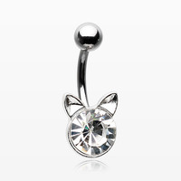 Sparkle Glam Kitty Cat Belly Button Ring