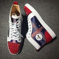 Christian Louboutin CL Mid Style #2141 Sneakers Fashion Shoes Online