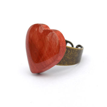 Red heart ring wooden heart ring valentines day gift for her Starlight Woods