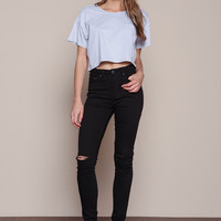 BLACK KNEE SLIT HIGH WAIST SKINNY JEANS