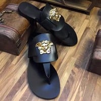 Versace Lover Women Men Slipper Soft Nap Fur Shoes