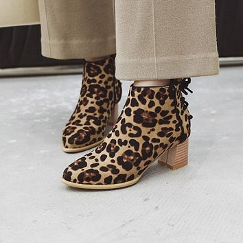 Leopard Printed Women's High Heeled Ankle Boots