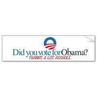 Vote for Obama? Thanks, Asshole. Bumper Stickers from Zazzle.com