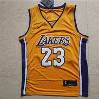 DCCK LA Lakers #23 LeBron James Yellow Basketball NBA Jerseys