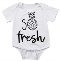 Newborn Infant Baby Boy Girl Kids Fresh pineapple Romper Short Sleeve Cotton Jumpsuit Clothes Outfit