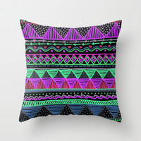 Ocean T Neon 2 Throw Pillow by Lisa Argyropoulos